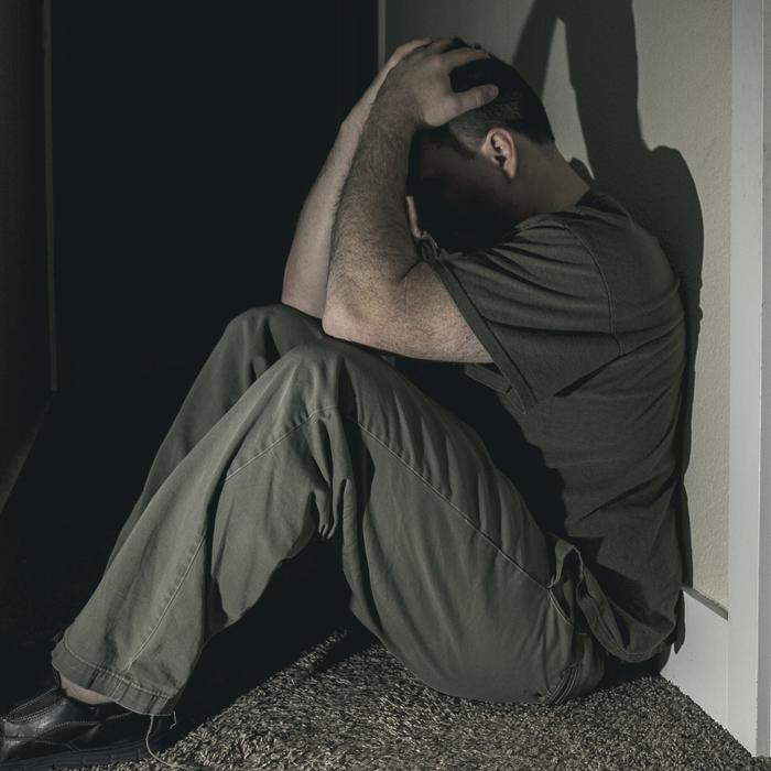 Man suffering through depression.